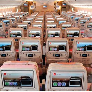 Emirates ice screen on Boeing 777 Economy Class