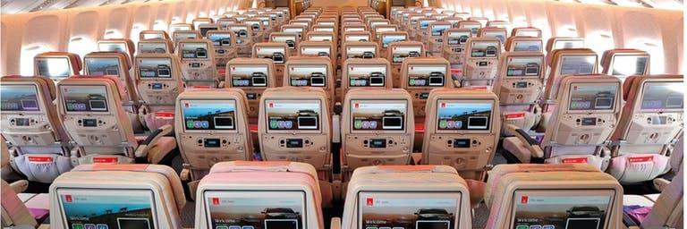 Emirates ice screen on Boeing 777 Economy Class