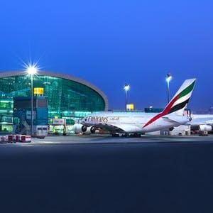 Dubai airport view at night