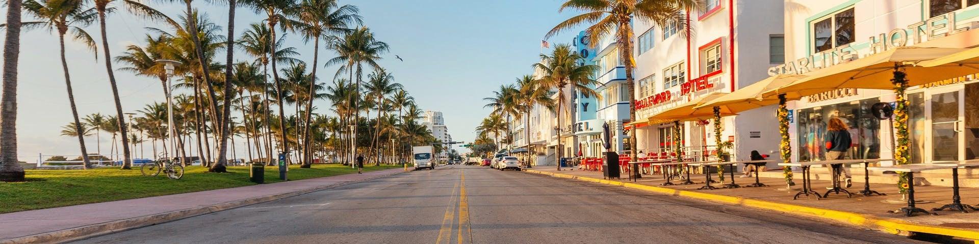Street view of Ocean Drive on Miami East Coast USA