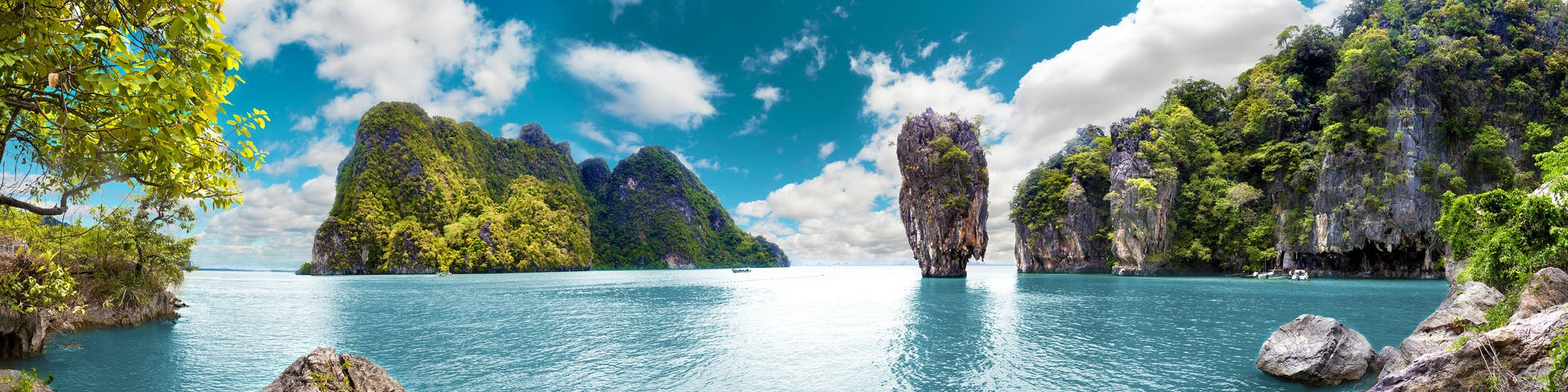 Beautiful scenery of the tropical sea and islands in Phuket Thailand