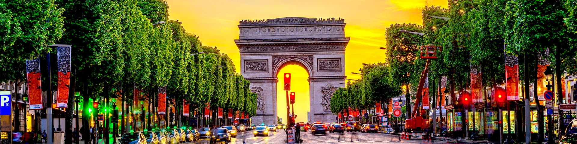 Champs-Elysees and Arc de Triomphe at sunset in Paris