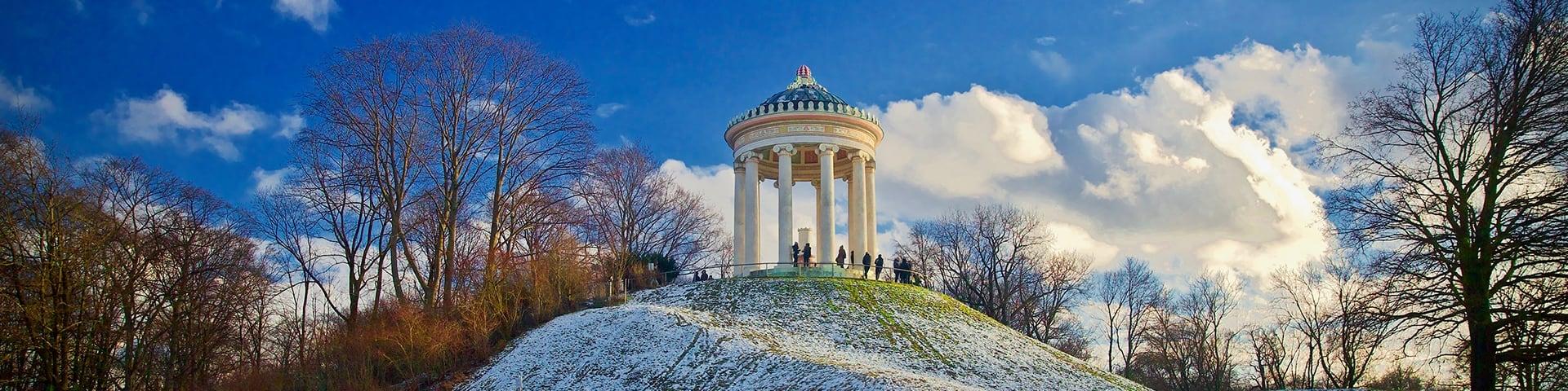 Monopteros in the snow in Englischer Garten, Munich