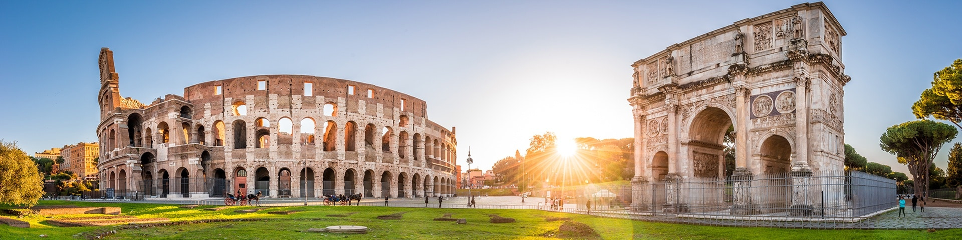 Panorama of Colosseum and Constantine arch in Rome