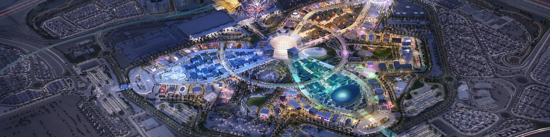 Aerial shot of the Expo 2020 site, the world's greatest show