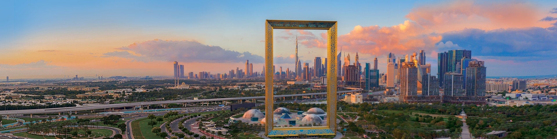 Aerial view of dubai frame at sunset