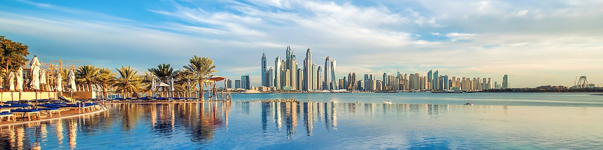 Panorama photo of the Dubai Marina skyline