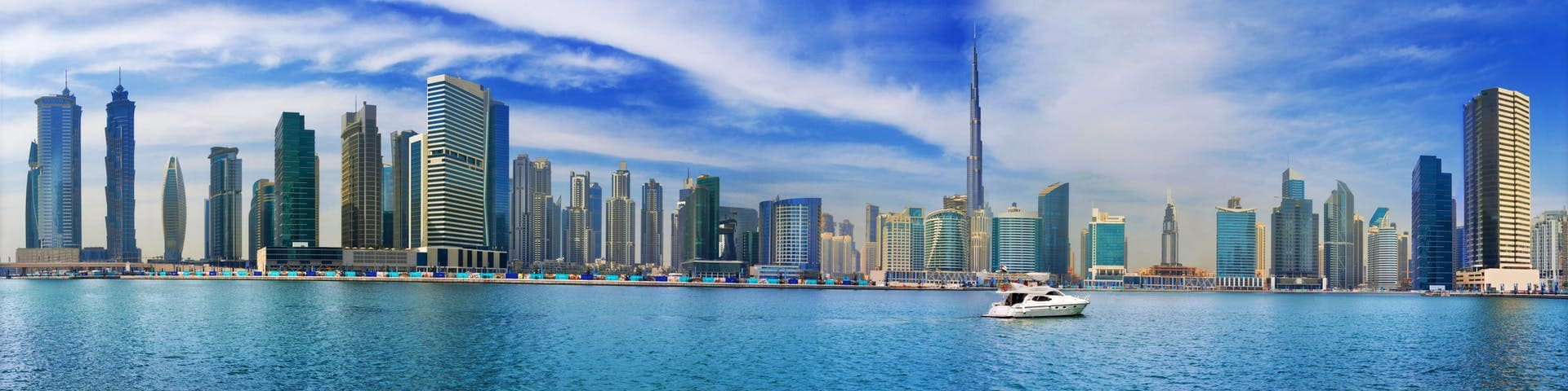 Panorama view of the canal in downtown Dubai