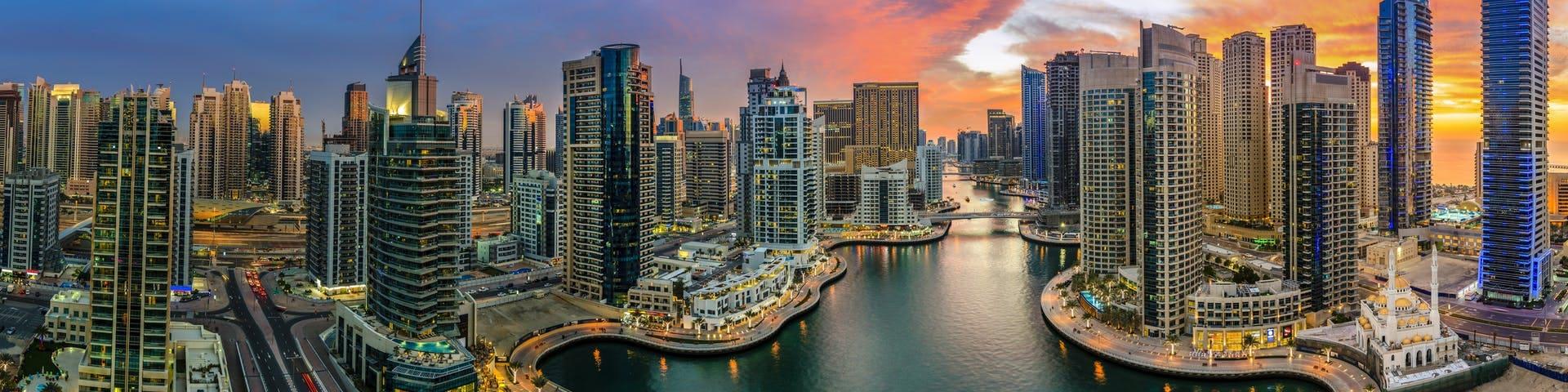 Panoramic view of Dubai Marina at sunset