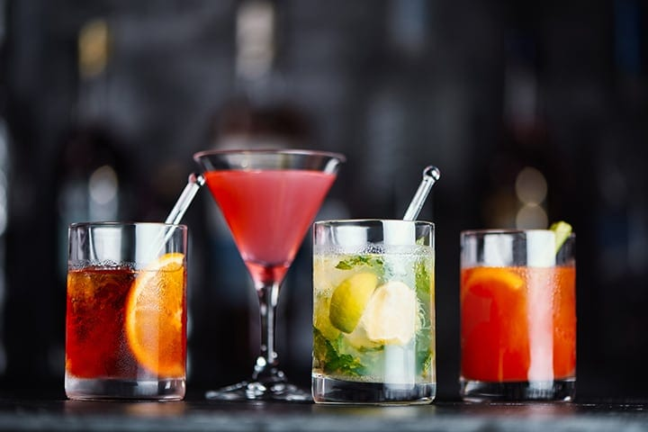 A selection of cocktails available on Emirates flights