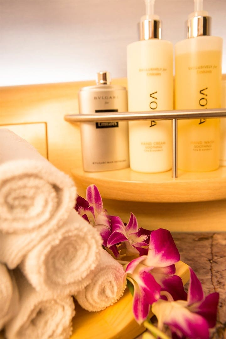 A collection of Voya skincare product in the Emirates A380 Shower Spa