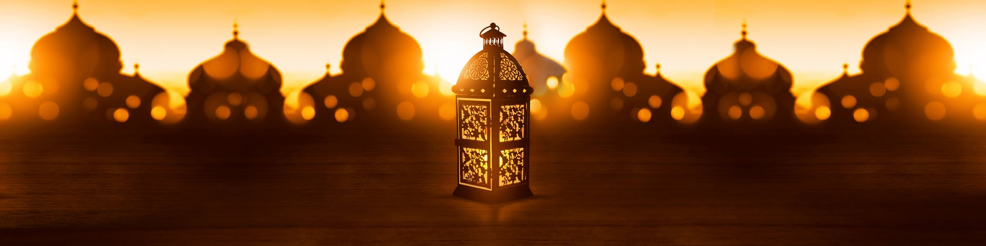 Eid al fitr lantern glowing at night